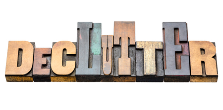 declutter - isolated word abstract in vintage letterpress wood type blocks, mixed fonts Stock Photo