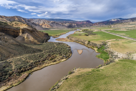 a valley of upper Colorado River below Burns in Colorado, aerial view in spring scenery Stock Photo
