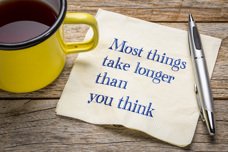 Most things take longer than you think - handwriitng on napkin with a cup of tea