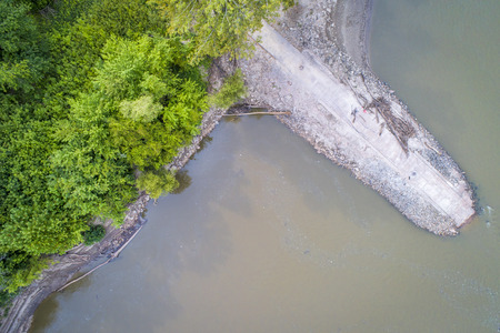 old boat ramp on Missouri River near Rocheport, MO (Taylors Landing) - aerial view