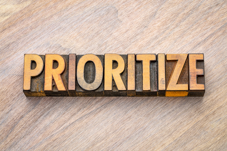 prioritize - word abstract in vintage letterpress wood type printing blocks