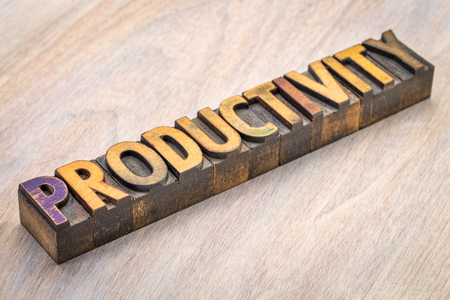 Productivity word abstract in vintage letterpress wood type Stock Photo