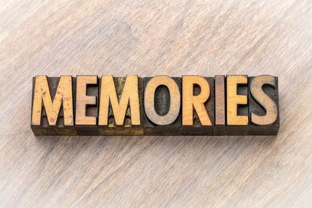 Memories - word abstract in vintage letterpress wood type printing blocks