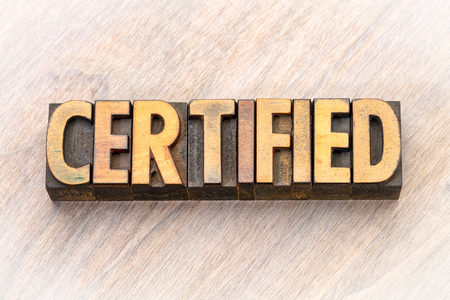 certified word abstract in vintage letterpress wood type