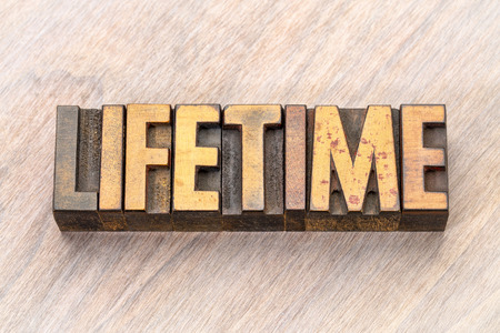 lifetime - word abstract in vintage letterpress wood type