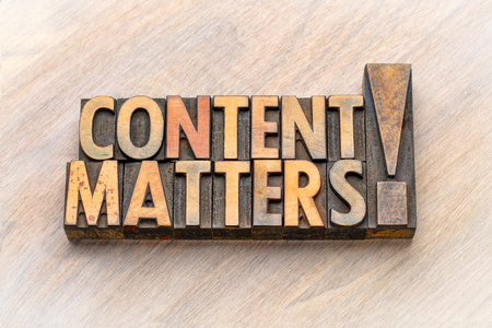 content matters - word abstract in vintage letterpress wood type