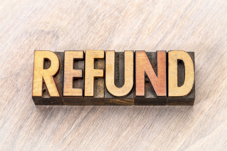 refund - word abstract in vintage letterpress wood type Stock Photo