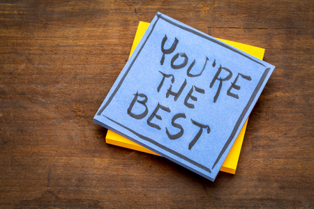 You are the best  - handwriting on a sticky note against rustic wood Stock Photo
