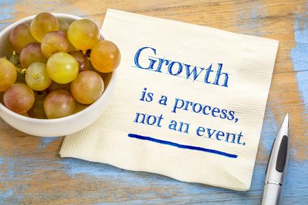 El crecimiento es un proceso, no un evento: escritura a mano en una servilleta con uvas frescas