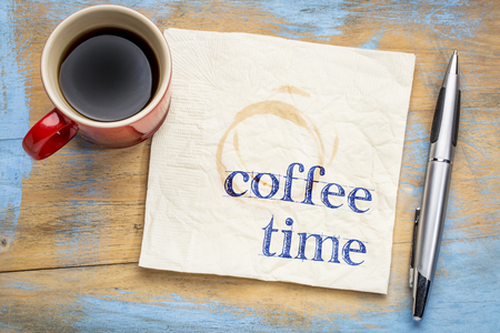 Coffee time text on a napkin with a cup of espresso coffee Stock fotó