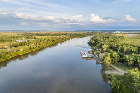 Aerial view of the Missouri River downstream of Brownville, Nebraska Stock Photo