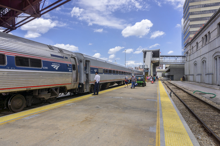 Kansas City, MO, USA - July 27, 2018: Amtrak Train, Missouri River Runne from St Louis just arrived at Kansas City station. Editorial