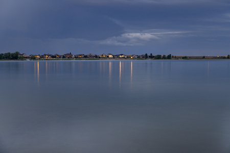 Night over a calm lake in Colorado - Boyd Lake State Park