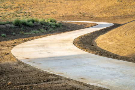 Newly constructed recreational bike trail - a rebuilt section of the Poudre Trail in northern Colorado Stock Photo