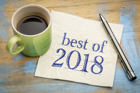 Best of 2018 sign -  handwriting on a napkin with a cup of coffee