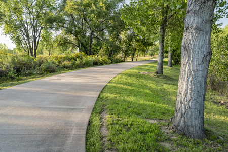 Multi-use commuting trail in Fort Collins in northern Colorado