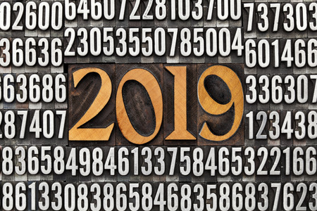 2019 number in vintage wood letterpress priniting blocks surrounded by random metal numbers, New Year concept