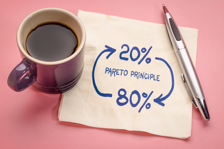 Pareto 80-20 principle concept - a sketch on a napkin with a cup of coffee Stock Photo
