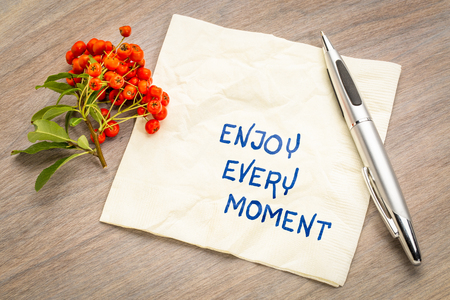 Enjoy every moment reminder - handwriting on a napkin with firethorn berries.