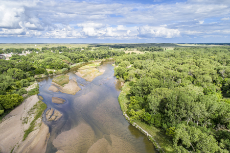 Aerial view of shallow and braided Platte River near Brady, Nebraska in summer scenery
