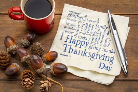 Happy Thanksgiving word cloud - handwriting on a napkin with a cup of coffee and fall decoration Stock Photo