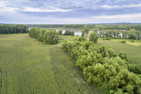 Corn fields in a valley of the Missouri River, Missouri - aerial view