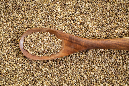 Background of organic dried hemp seeds with a rustic wooden spoon