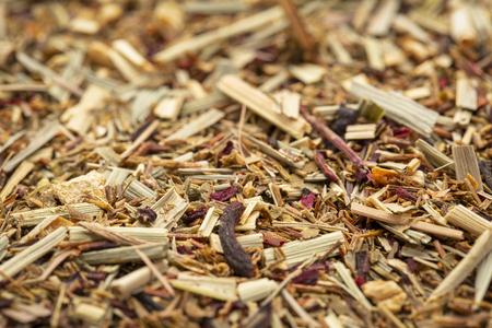Background texture of lemongrass organic tea, caffeine free, selective focus