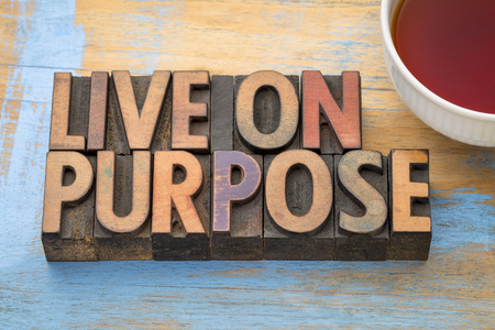 Live on purpose banner - word abstract in vintage letterpress wood type printing blocks with a cup of tea