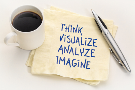 think, visualize, analyze and imagine - inspirational handwriting on a napkin with a cup of coffee Banco de Imagens