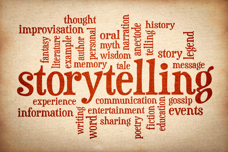story and storytelling word cloud - red text on canvas