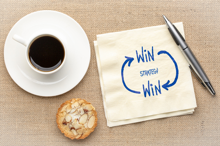 win-win strategy concept - a sketch on a napkin with a cup of coffee