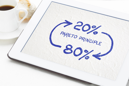 Pareto 80-20 principle concept - a sketch on a digital tablet with a cup of coffee