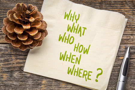 why, what, who, how, when, where brainstorming or decision making questions - handwriting on a napkin Stockfoto