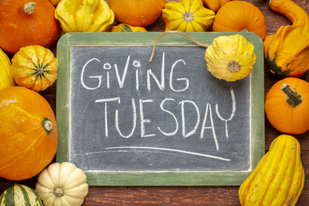 Giving Tuesday  - white chalk handwriting on a slate blackboard surrounded by winter squash and gourds Stock Photo