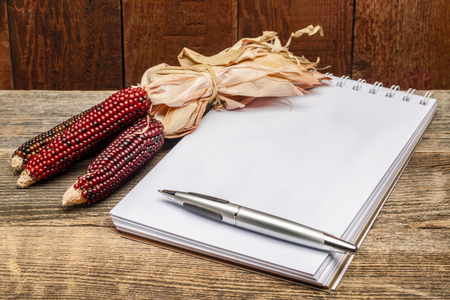blank  art sketchbook with a pen and  a decorative corn against rustic barn wood