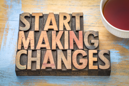 Start making changes - word abstract in letterpress printing blocks with a cup of tea