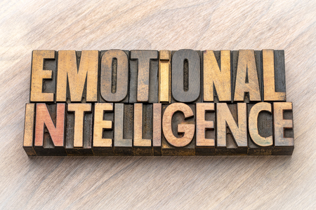 emotional intelligence - word abstract in vintage letterpress wood type