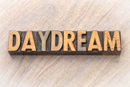 daydream - word abstract in vintage letterpress wood type printing blocks