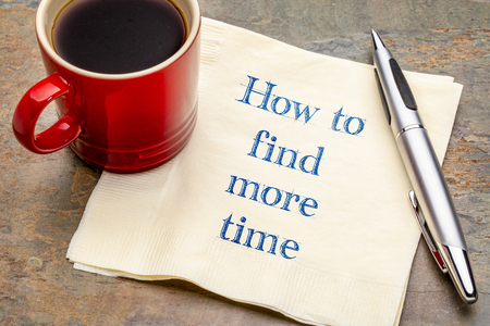 How to find more time - handwriting on a napkin with a cup of coffee