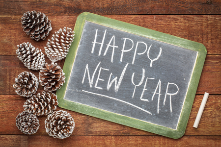happy new year - white chalk handwriting on a slate blackboard with frosty pine cones against rustic barn wood