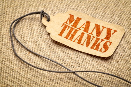 many thanks  sign - a paper price tag with a twine iagainst burlap canvas Stock Photo