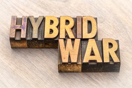 hybrid war word abstract in vintage letterpress wood type blocks