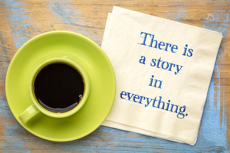 There is a story in everything - handwriting on napkin with a cup of coffee Reklamní fotografie