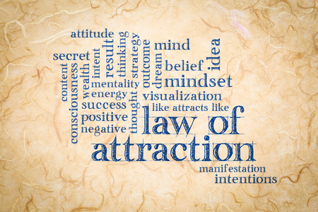 law of attraction word cloud on a handmade mulberry paper 写真素材
