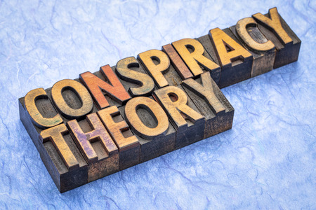 conspiracy theory - word abstract in vintage letterpress wood type