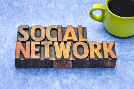 social network - word abstract in vintage letterpress wood type with a cup of coffee