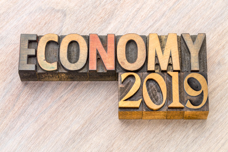 economy 2019 word abstract in vintage letterpress wood type