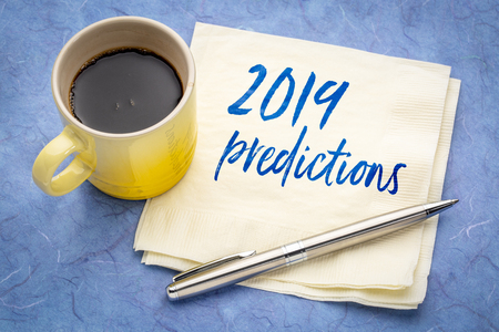 2019 predictions - handwriting on a napkin with a cup of coffee Reklamní fotografie