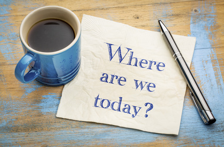 Where are we today? Handwriting on a napkin with a cup of coffee